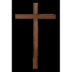 Dřevěný kříž na zeď, tmavý - 45 cm