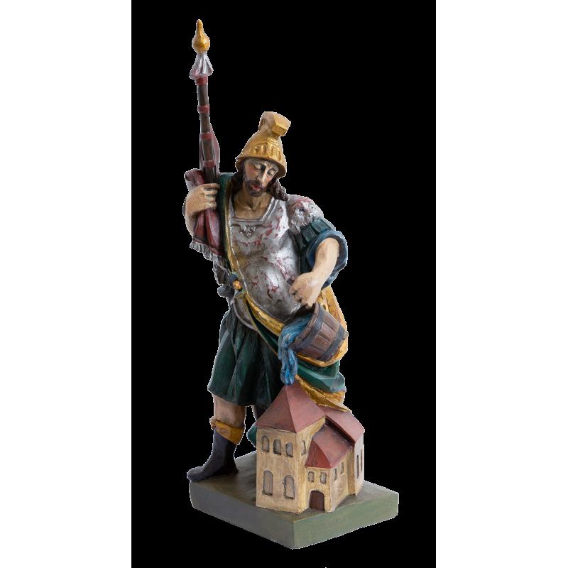Dřevěná socha sv. Florián - malovaná, 30 cm